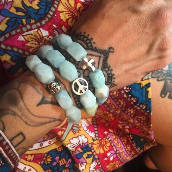 Chunky Amazonite Stretch Bracelet with Silver Charm