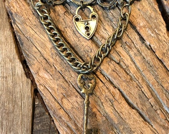 Vintage valentine brass bar pin with heart lock and key