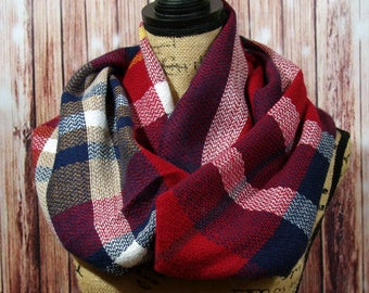 WINTER MARKDOWN Infinity Blanket Scarf, Plaid Scarf, Tartan Scarf in Burgundy and Navy