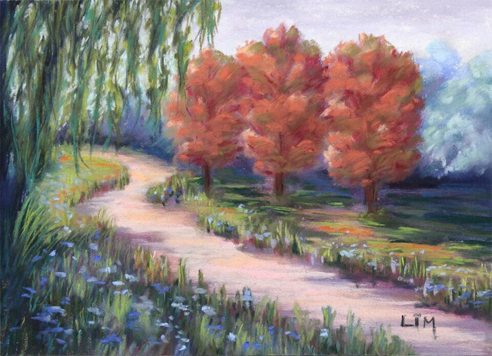 Peinture d 39 un paysage au pastel sec chemin dans un parc - Peinture au pastel sec ...