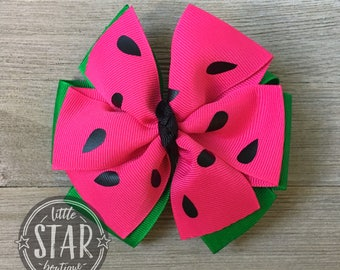 Watermelon Double Bow - Watermelon Hair Bow - Watermelon Headband - Baby Headband - Girls Headband - Double Bow clip - Red Watermelon Bow