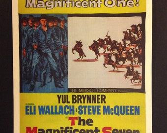 The Magnificent Seven Vintage Movie Poster Reproduciton // Western // Yul Brynner // Steve McQueen // Charles Bronson // Akira Kurosawa