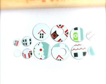 Handmade Vintage Tin Disks Washers - 12 pcs. - Christmas House Set no.2 - Winter Home White Mint Green Red Black