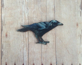 Raven Brooch Crow Pin Edgar Allan Poe Jewelry