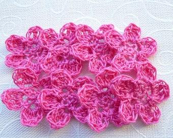 set of 8 hot pink crochet flowers
