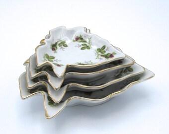 Porcelain Nesting Dishes, Set of 4 Nut Dishes, Serving Dishes, Housewarming Gift, Wedding Gift, Pink Rose Bud Dishes
