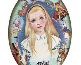 Alice in Wonderland Picture Pendant and chain 18x25mm Alice and Friends