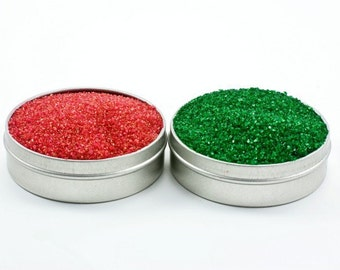 Red and green cocktail rimming sugar – colored sugar for Xmas, Green Sugar, Christmas sprinkles for Christmas wedding, bartender gift
