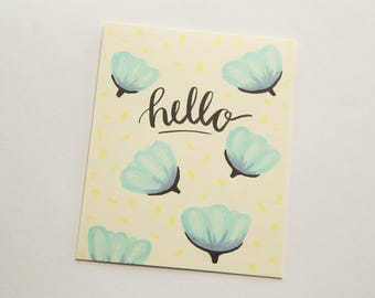 Blue Floral Hello Card // Handmade Card // Just Because Card // Greeting Card // Blank Notecard // Free the Captives Charity