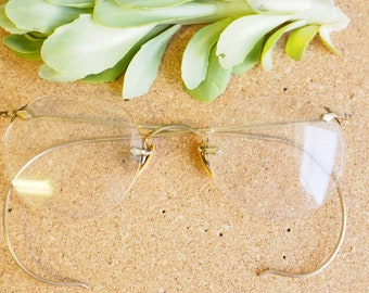 Vintage Eyeglasses 1920s/Spectacles/Rimless Frames Glasses 1/10 12K Gold Filled By Bausch And Lomb Eyeglass Stunning