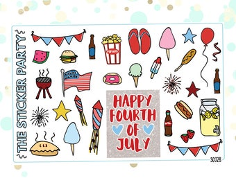 4th of July Planner Stickers Independence Day Planner Stickers