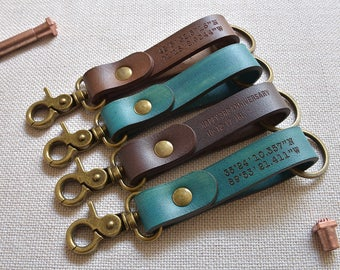 Personalized Leather Keychain, Key Chain, Key Fob, Monogram keychain, Key holder, Custom keychain, Mens keychain, Womens keychains, LT589
