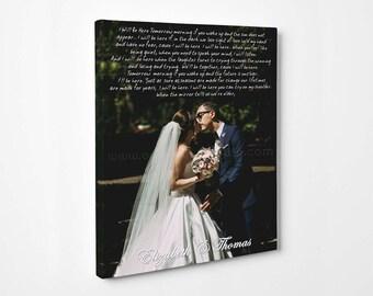 Wedding Photo Custom Canvas Print Wedding Lyrics, Vows, Songs Anniversary Gift Unique Wall Decor Wedding photo art Your photo on canvas