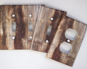 Rustic Wood Light Switch Plate Cover Planks // grey brown image 53 // SAME DAY SHIPPING**