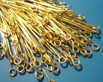 Eye Pins 50 pcs Gold Plated Brass Eye Pins 76.2mm 3 inch 22 ga eyepins EP1018 H17