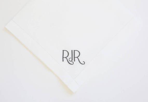 Men's Finest Irish Linen or Fine Cotton Monogrammed Handkerchief, Pocket Square, New Yorker monogram