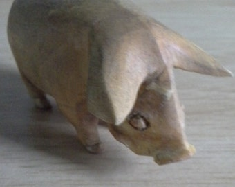 hand crafted wooden pig