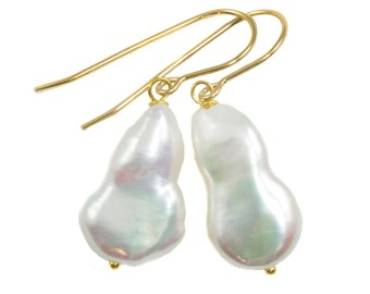 Baroque Pearl Earrings Sterling Silver or 14k Gold or Filled French Ear Wires White High Luster Simple Pearls Genuine Freshwater Funky shape