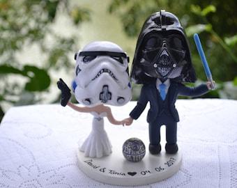 Stormtrooper bride and Vader groom. Star Wars cake topper. Wedding figurine.  Handmade. Fully customizable.