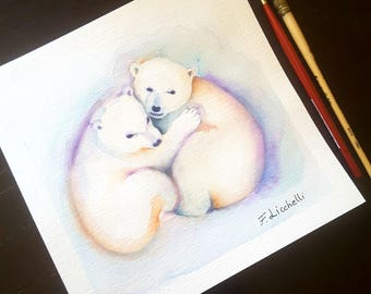 Small picture with polar bears, original watercolor by Francesca Licchelli, gitt idea for new born, children bedroom, nursery decoration.