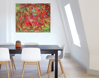"""Pamela Rys - The Flames of Wisdom 20"""" x 24"""" - 50 x 60 cm highly textured original painting - abstract landscape by Pamela Rys"""