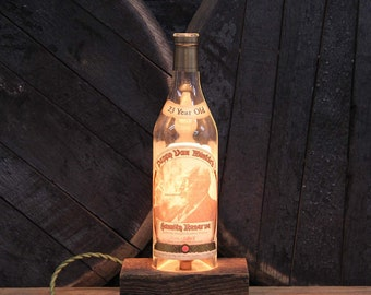 Handmade Recycled Pappy Van Winkle 23 Year Bourbon Bottle Lamp - Reclaimed Wood Base, Edison Bulb, Twisted Cloth Wire, In line Switch, Plug
