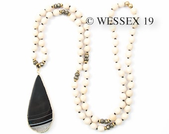 Black and White Agate Teardrop Necklace | Fossil Stone Jasper Necklace | Long Beaded Cream Necklace | Off White Stone Necklace