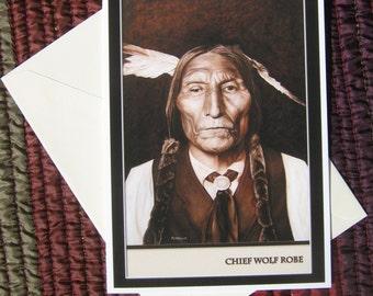 Chief Wolf Robe Blank Greeting Card