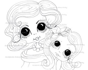 INSTANT DOWNLOAD Digital Digi Stamps Big Eye Big Head Dolls Momma an Daughter 1 My Besties Digi By Sherri Baldy