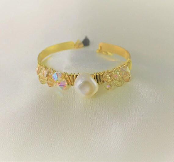 bracelet jonc mariage  plaqué or swarovski