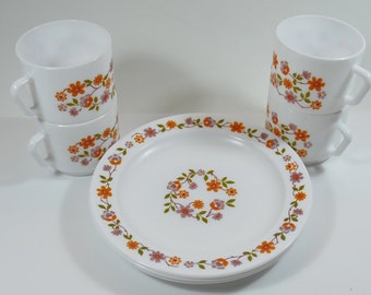 Retro Arcopal Scania Cups and Plates, Flower Power, Vintage Arcopal, Camping/Picnic Plates and Cups