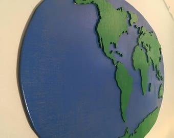 Hello World Wooden Globe Mural