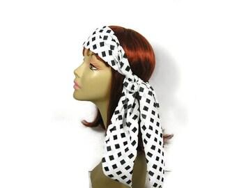 Black and White Hair Scarf Hair Scarves Chiffon Hair Scarves Geometric Head Scarf Neck Scarves Chiffon Scarves Black and White Skinny Scarf