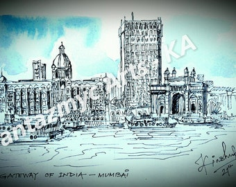 Gateway of India, Mumbai in blue skies and water