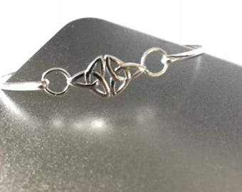 Sterling Silver Celtic Double Trinity Knot Bangle 2mm