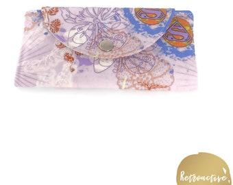 Foldover Slimline Wallet - Foldover DC Superhero Comic Wallet - Purple Wallet