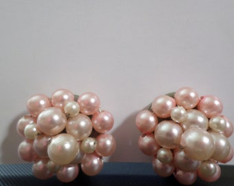 Vintage Costume Jewelry Clip-on Earrings Faux Pearl Pale Pink Cluster
