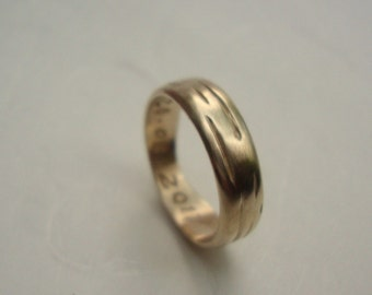 Gold Birch ring Wedding Band in solid 14k yellow gold