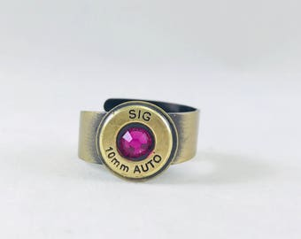 Bullet shell ring Sig 10mm auto with pink crystal, bullet jewelry, bullet ring, adjustable ring, bronze ring, gun girl