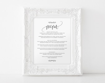 Wedding Menu Sign, Wedding Menu Printable, 8x10 Menu, Menu Printable Sign, Wedding Printable, Editable Menu, PDF Instant Download #BPB202_29