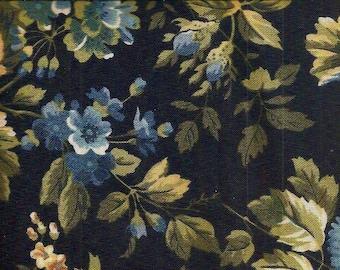 Benartex cLASSIC hOME. dark blue background with light blue, tan, gold flowers...87