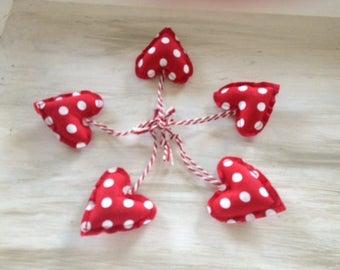 Set of 5 Mini hearts fabric-