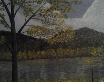 Spring Original Acrylic Landscape At The Lake