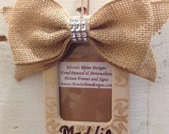 Personalized Photo Ornament with Champagne Designs and Burlap Bow