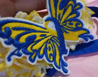 Girls Down Syndrome Awareness Headband, support ribbon, Baby Headband, Butterfly, Shabby flower, Awareness, Down Syndrome, Headband, blue