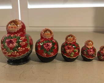 Nesting Dolls Matryoshka Hand Painted in Russia Stacking Dolls Signed
