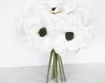 JennysFlowerShop 10'' Blooming Anemone Silk Artificial Wedding Bridal Bouquet/ Home Flower (No Pot Included) (White)