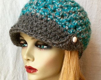 SALE Crochet Womens Hat, Newsboy, Teal and Grey, Beanie with Brim, Very Soft Chunky, Warm, Teens, Winter, Ski Hat, JE404NB1