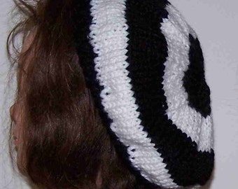 Slouchy Beanie Hat Knit Black White Bullseye Beret Stripe Target Tam New Soft Wool Mix Hand made  Premade Ready to Ship!