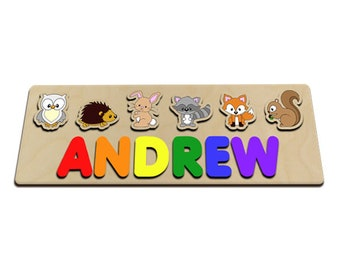 Woodland Animals Personalized Wooden Baby Name Puzzle Great For Kids With Long Names Owl, Hedge Hog, Rabbit, Coon, Fox, Squirrel 604549035